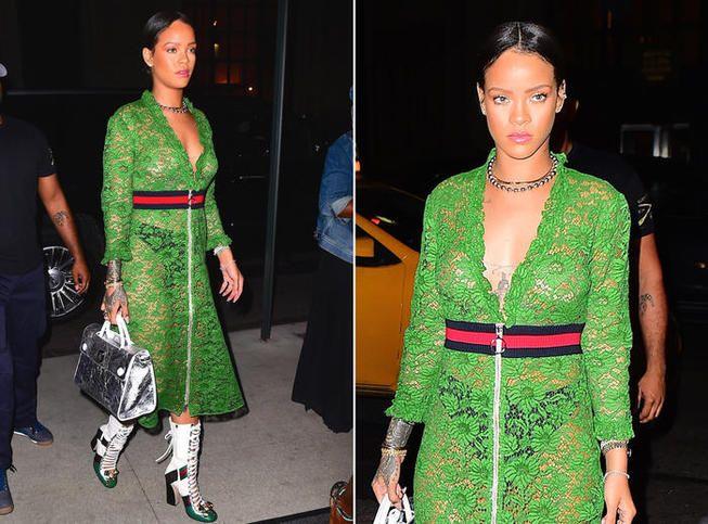 Photos : Seins nus sous sa robe en dentelle, Rihanna fait monter la température