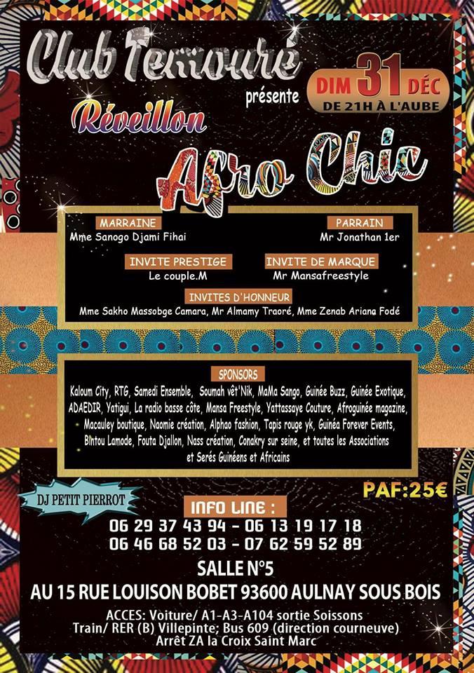 Ne ratez pas la soirée Afro'Chic le 31 déc à Paris !